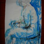 Blue female nude in ink