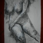 Sitting female nude charcoal