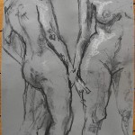 Two nudes chalk charcoal