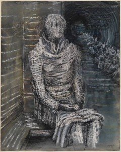 Woman Seated in the Underground 1941 by Henry Moore OM, CH 1898-1986