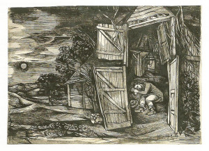 John_Minton_Youn_Man_Asleep_in_a_Barn_1946_pen_and_ink_wash