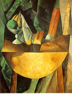 PabloPicasso-Bread-and-Fruit-Dish-on-a-Table-1909