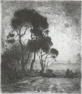 Leslie_Moffat_Ward_Trees_near_Holdenhurst_1913_etching