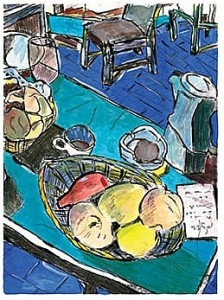 Still_Life_with_Peaches_Bob_Dylan_mixed_media_on_paper