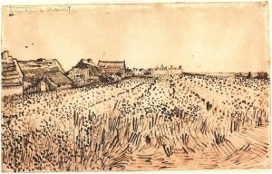 Vincent-van=Gogh_1888_pencil_reed_pen_and_brown_ink_on_laid_paper_View-of-Saintes-Maries-with-Cemetery